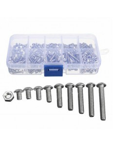 340PCS M3 (3MM) A2 STAINLESS HEXAGON SCREWS WITH HEX NUTS ASSORTMENT KIT