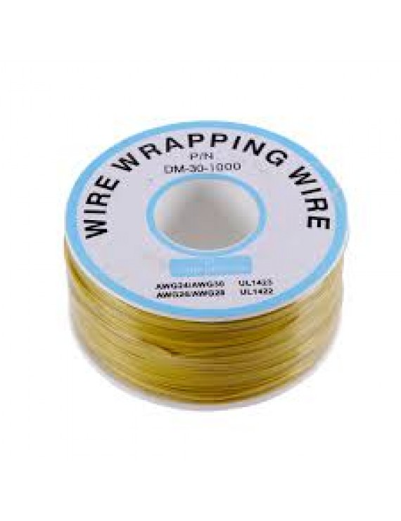 1 m Yellow  Wire Mini Roll 0.5 mm external diameter x 0.25 mm internal diameter